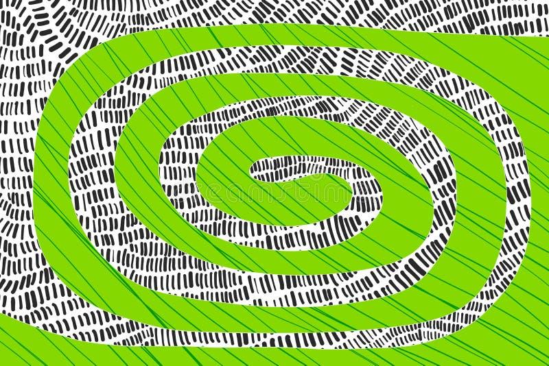 Conception texturis?e en spirale de fond de correction Couleurs vibrantes Tir? par la main dans le style de bande dessin?e illustration de vecteur