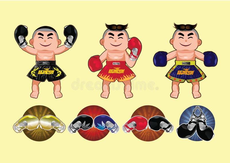 Conception thaïlandaise de boxe, illustration de vecteur illustration stock