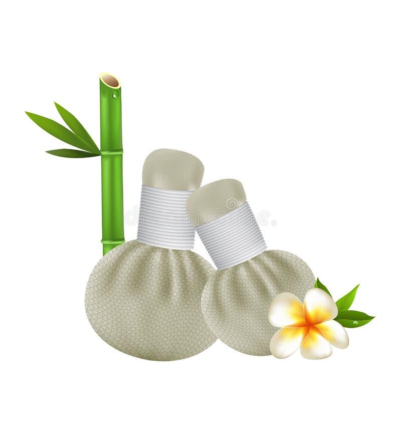 Conception thaïlandaise de vecteur de station thermale de massage de compresse d'herbes illustration stock