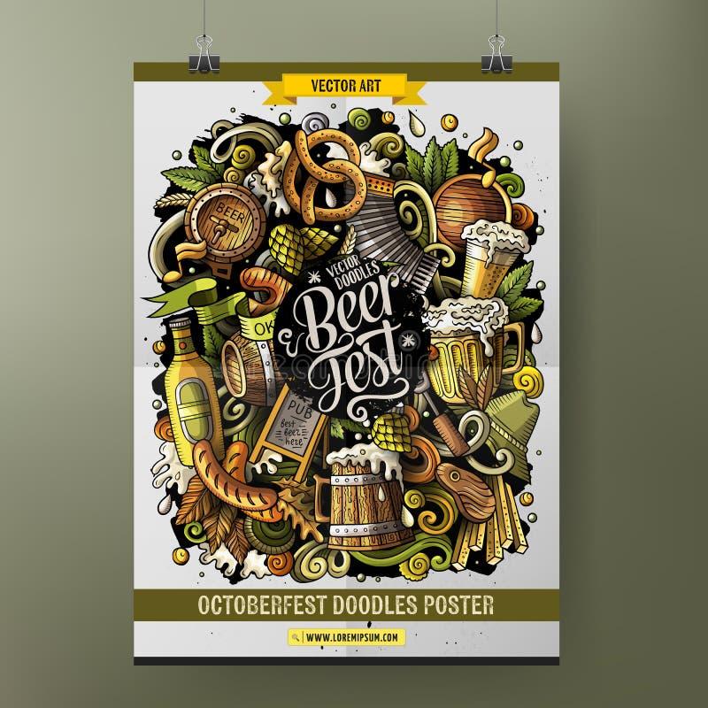 Conception tirée par la main d'affiche de fest de bière de griffonnages de bande dessinée illustration libre de droits