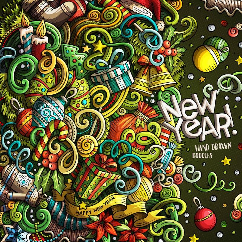 Conception tirée par la main de cadre de Joyeux Noël de griffonnages mignons de bande dessinée illustration de vecteur