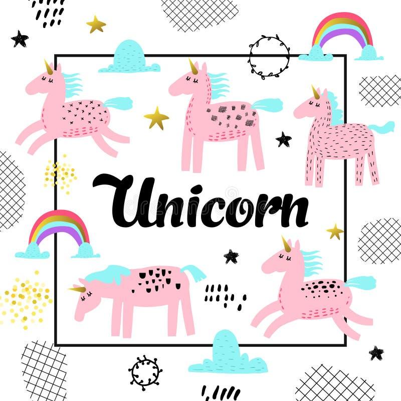 Conception tirée par la main de licornes magiques Fond puéril de conte de fées pour l'affiche, carte de voeux, décoration, couver illustration stock