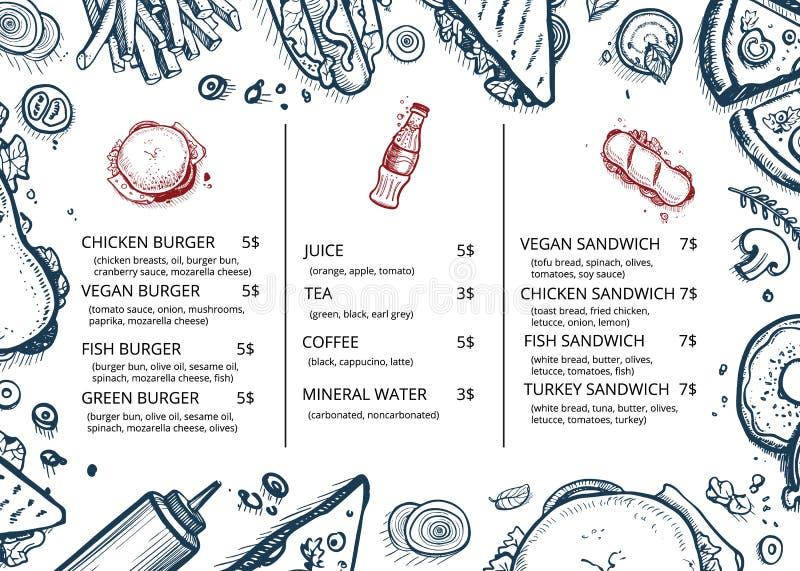 Conception tirée par la main de menu de nourriture de restaurant rétro illustration stock