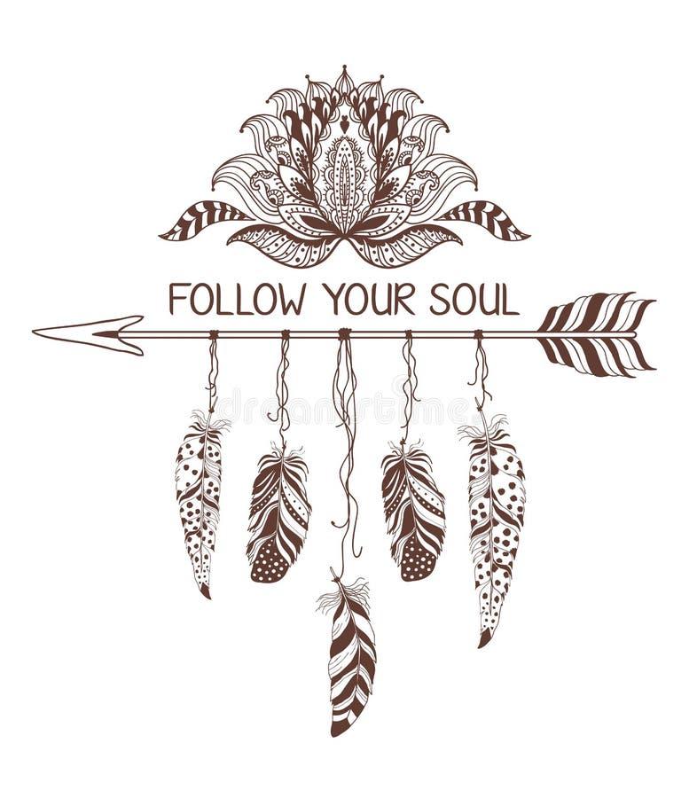 Conception tirée par la main de style de boho avec la fleur, la flèche et les plumes de lotus illustration stock
