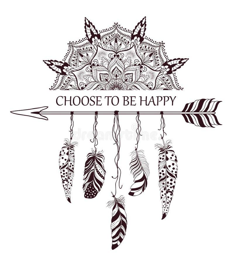 Conception tirée par la main de style de boho avec le mandala, la flèche et les plumes illustration de vecteur