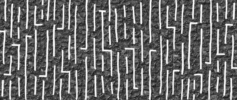 Conception tirée par la main 19 de style de labyrinthe avec le fond froissé noir de vernis illustration stock