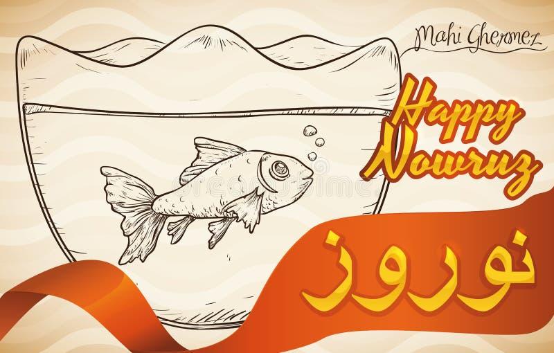 Conception tirée par la main des poissons dans une cuvette pour Nowruz, illustration de vecteur illustration de vecteur