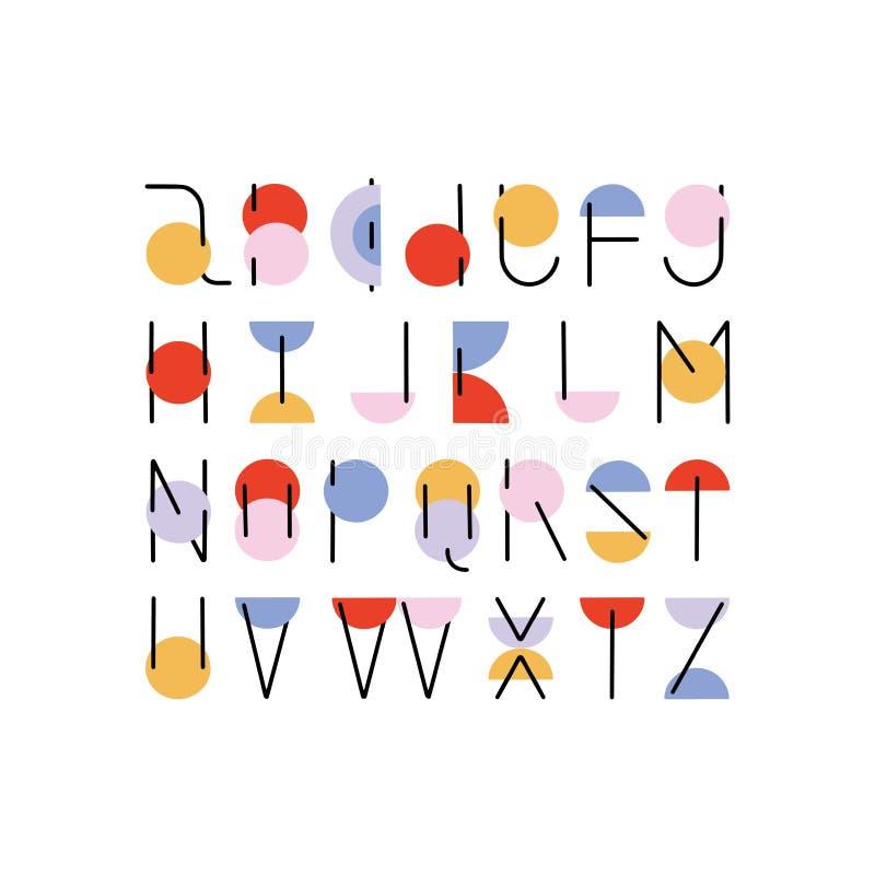 Conception tirée par la main minimale d'alphabet d'ABC de vecteur illustration de vecteur