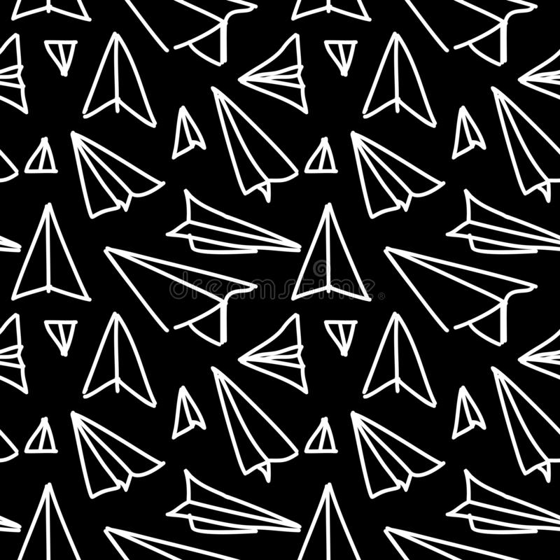 Conception tirée par la main sans couture de modèle d'avion de papier illustration stock