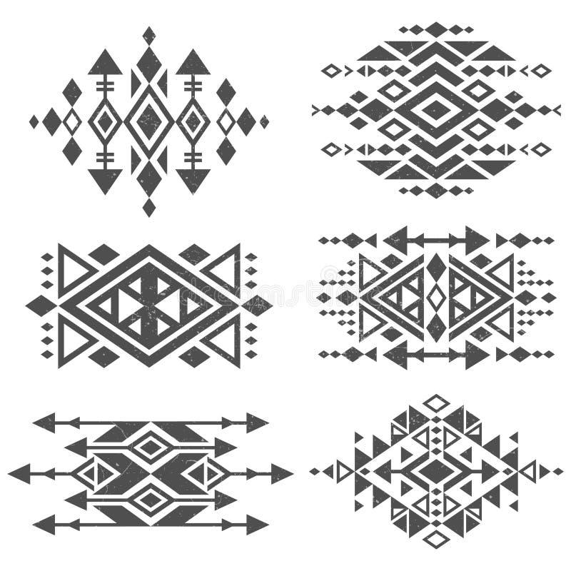 Conception traditionnelle tribale aztèque mexicaine grunge de logo de vecteur d'isolement sur le fond blanc illustration stock