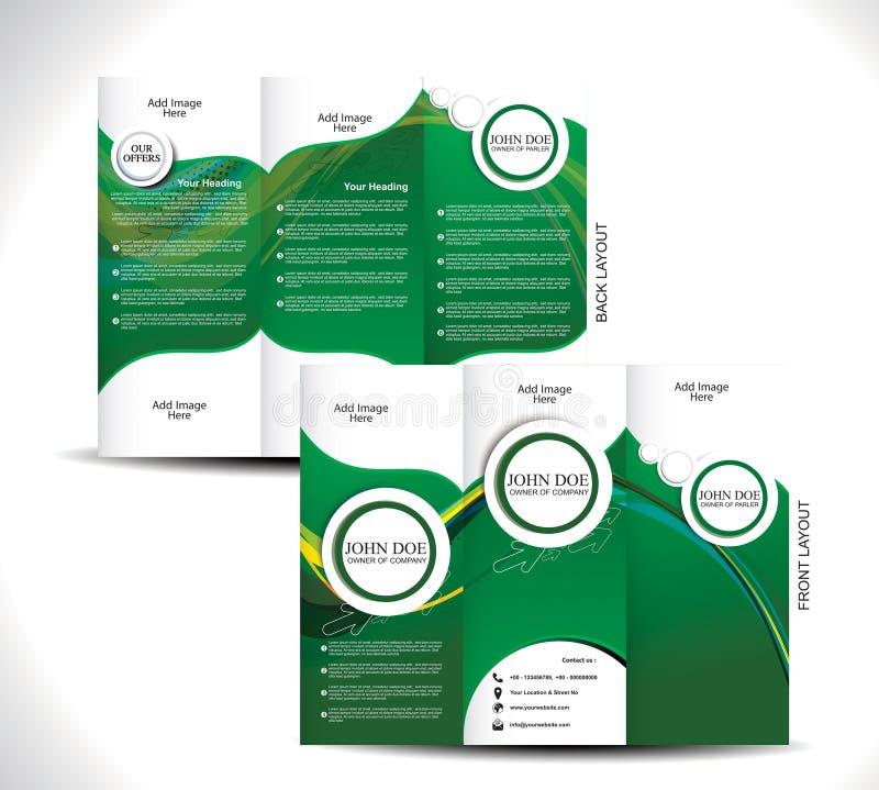 Conception triple verte de brochure illustration libre de droits