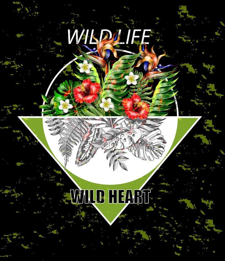Conception tropicale à la mode de hippie pour les affiches ou le T-shirt Feuilles et fleurs réalistes et graphiques avec la trian illustration de vecteur