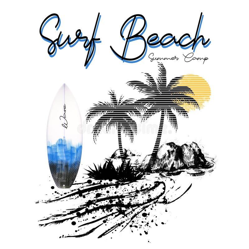 Conception tropicale de style d'Hawaï de paradis de plage de ressac d'île illustration stock