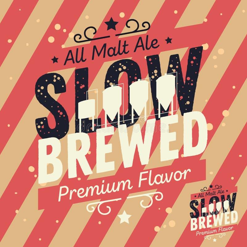 Conception typographique brassée lente de label de bière de métier avec la brasserie Equ illustration de vecteur