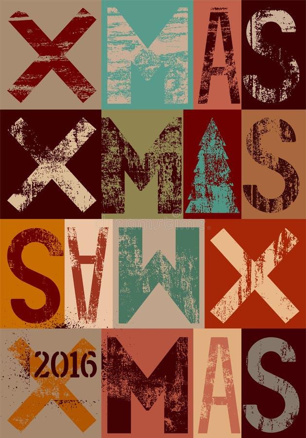 Conception typographique de carte ou d'affiche de Noël de style de vintage Rétro illustration grunge de vecteur illustration stock