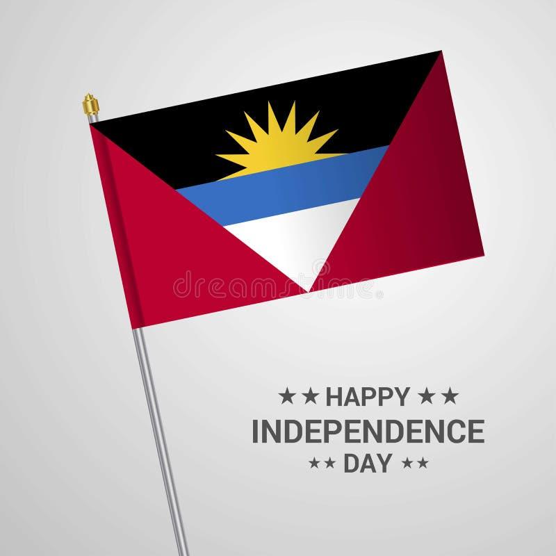 Conception typographique de Jour de la Déclaration d'Indépendance de l'Antigua-et-Barbuda avec le fla illustration libre de droits