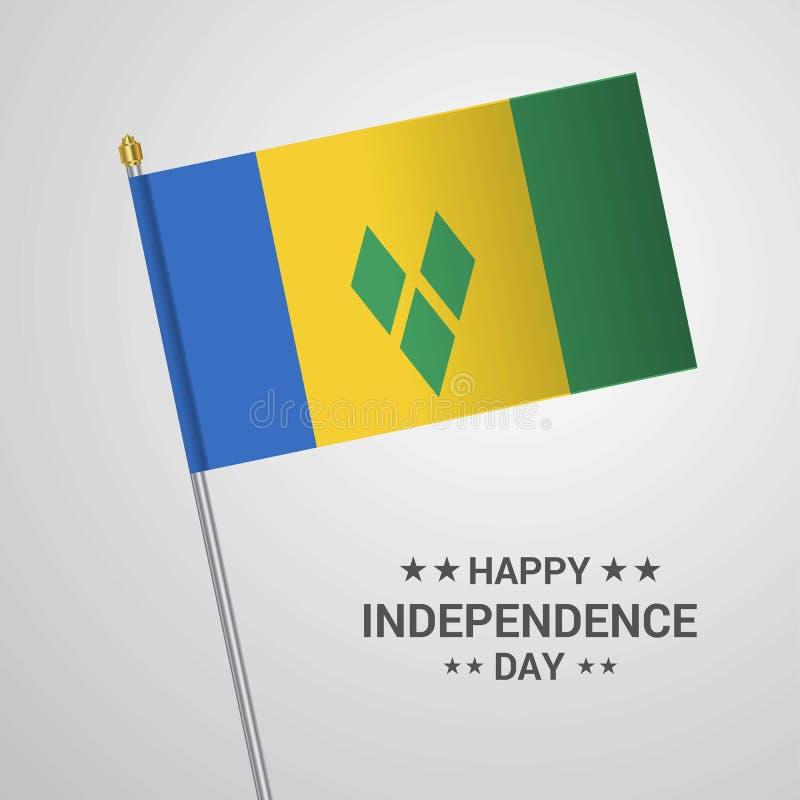 Conception typographique de Jour de la Déclaration d'Indépendance de Saint Vincent et de grenadines illustration libre de droits