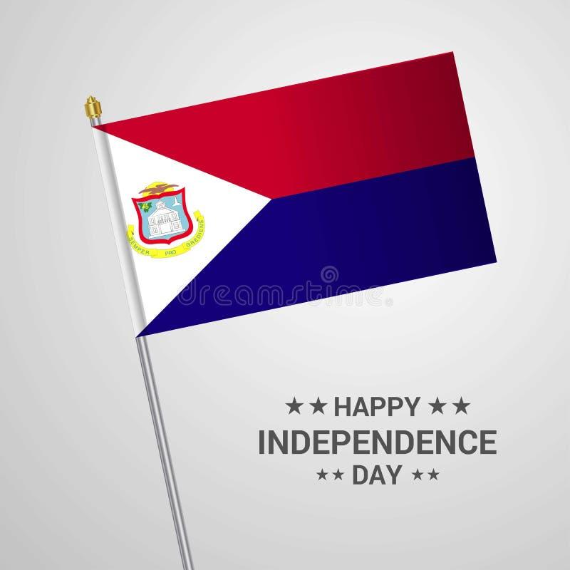 Conception typographique de Jour de la Déclaration d'Indépendance de St Martin avec le vecto de drapeau illustration stock