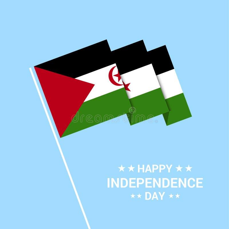 Conception typographique de jour occidental de Sahara Independence avec le vec de drapeau illustration stock