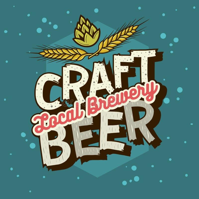 Conception typographique de label de bière de métier avec des blés et des houblon Illustr illustration stock
