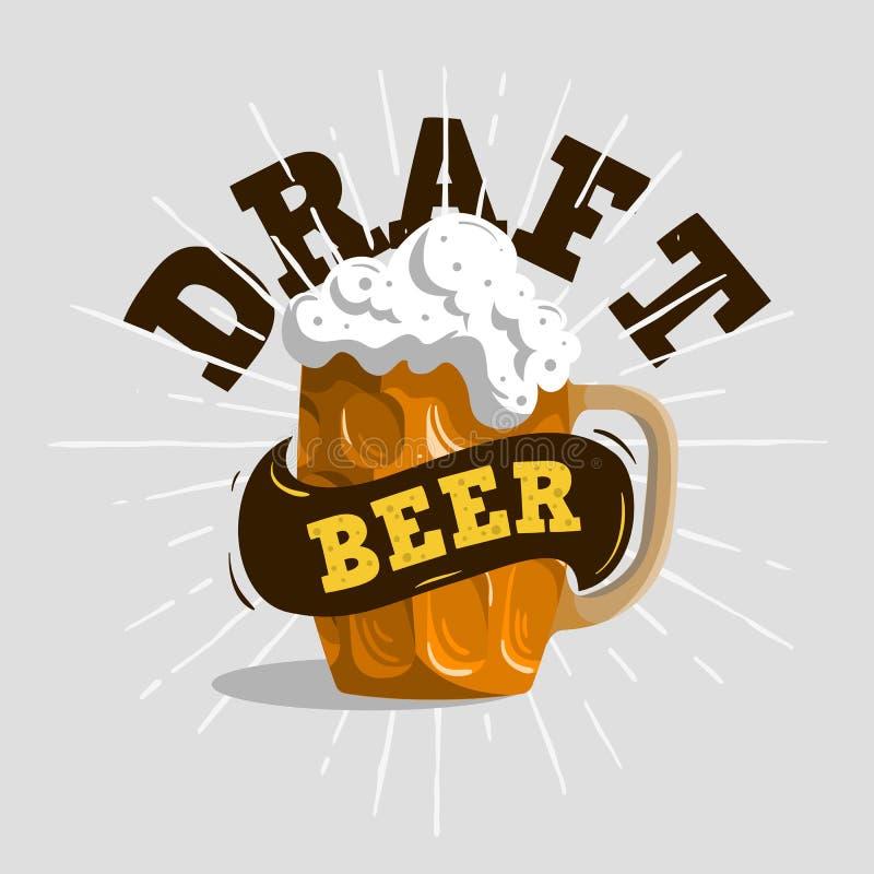Conception typographique de label de bière pression avec une tasse illustration libre de droits