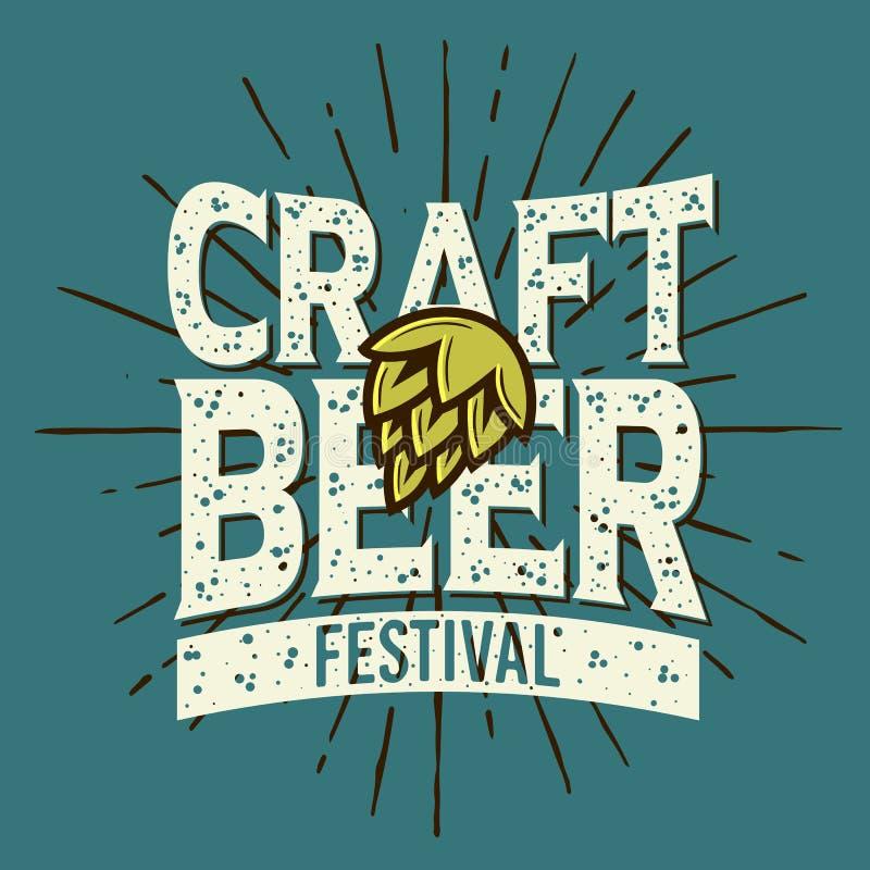 Conception typographique de label de festival de bière de métier illustration de vecteur