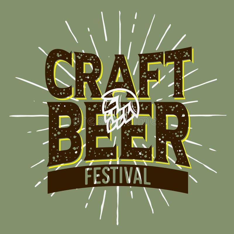 Conception typographique de label de festival de bière de métier avec un houblon et un A Su illustration libre de droits