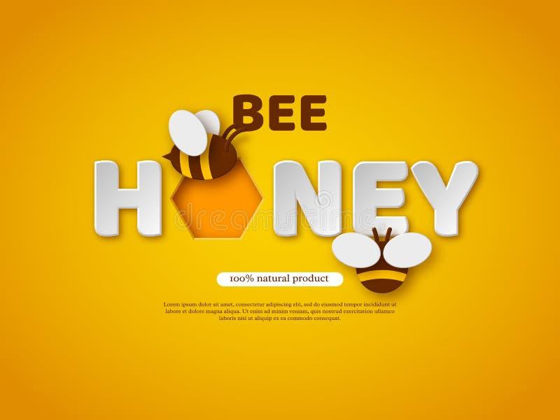 Conception typographique de miel d'abeille Le papier a coupé les lettres, le peigne et l'abeille de style Conception de calibre p illustration de vecteur