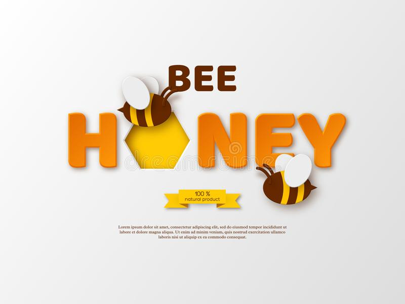 Conception typographique de miel d'abeille Le papier a coupé les lettres, le peigne et l'abeille de style fond blanc, illustratio illustration stock