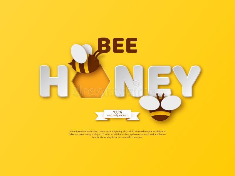 Conception typographique de miel d'abeille Le papier a coupé les lettres, le peigne et l'abeille de style fond blanc, illustratio illustration libre de droits