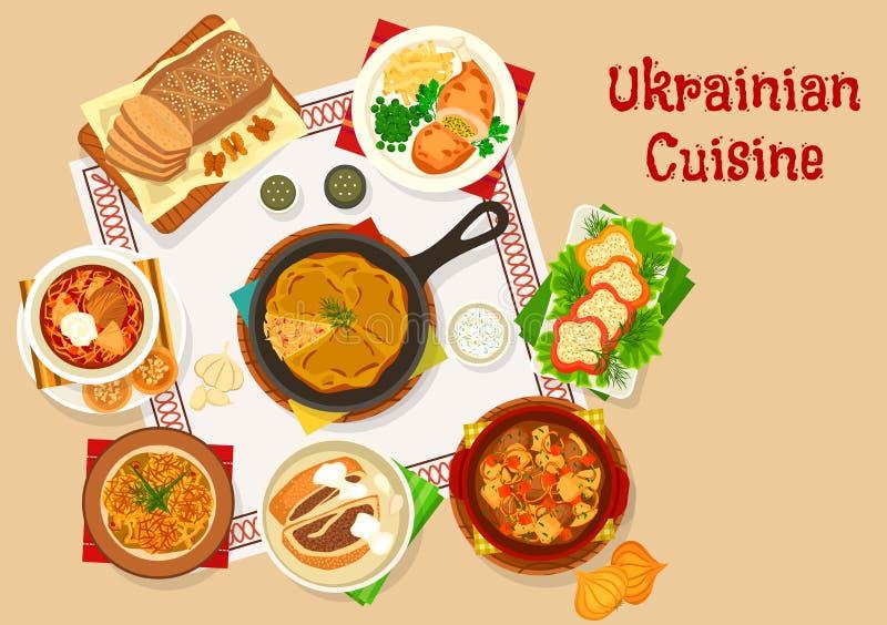 Conception ukrainienne d'icône de plats de déjeuner de cuisine illustration libre de droits