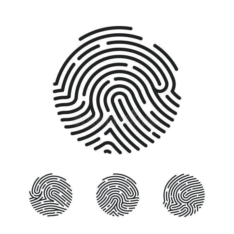 Conception unique d'icône d'empreinte digitale de cercle pour l'appli Balayage plat d'empreinte digitale Illustration de vecteur  illustration libre de droits