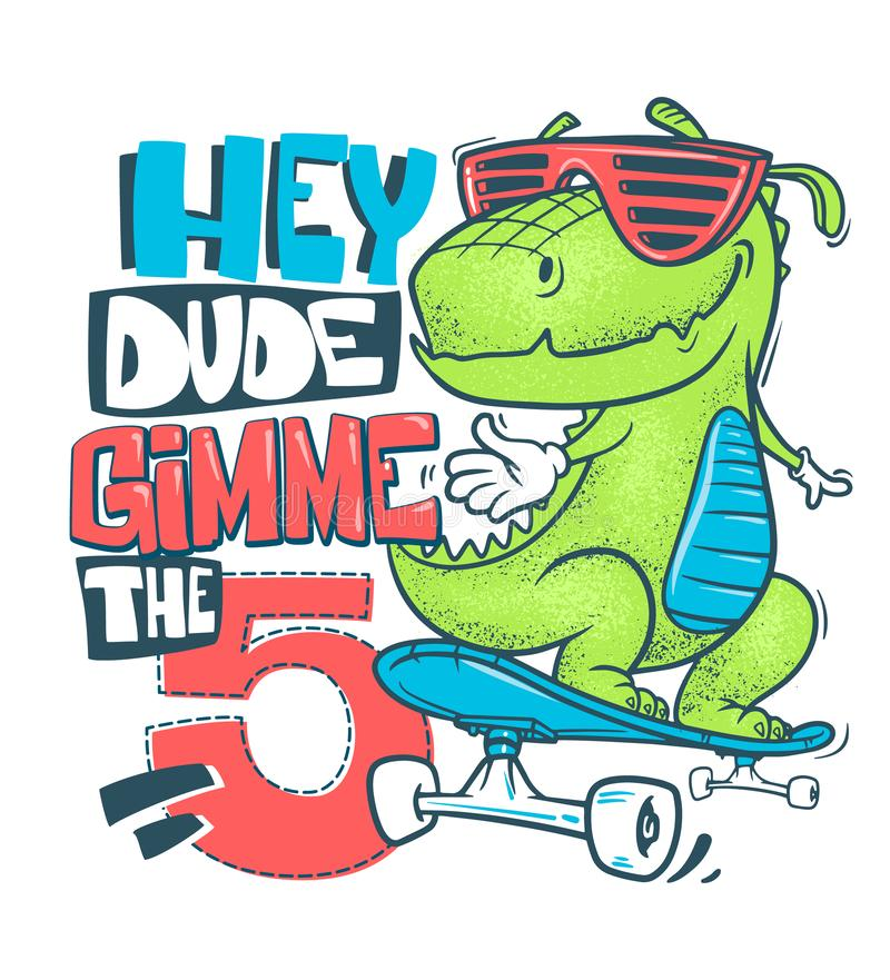 Conception urbaine d'impression de T-shirt de dinosaure de planche à roulettes, illustration de vecteur illustration stock
