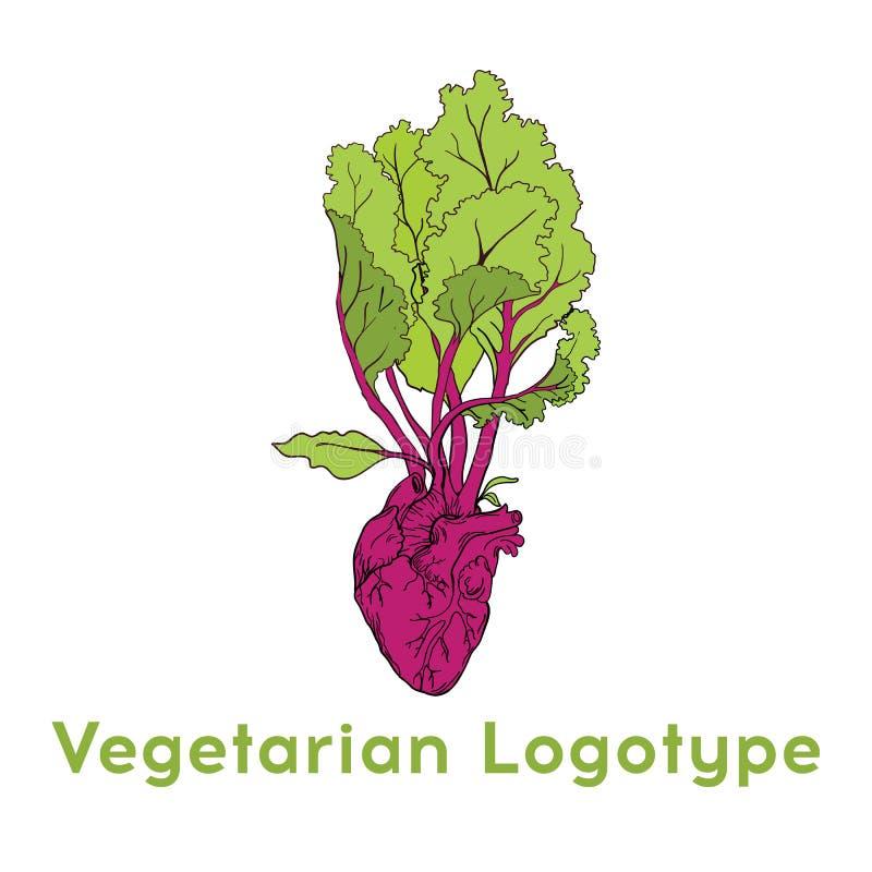Conception végétale de calibre d'icône de logo de coeur de betteraves Logo pourpre d'icône de betterave Concept végétarien frais  illustration libre de droits