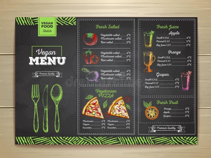 Conception végétarienne de menu de nourriture de dessin de craie illustration libre de droits