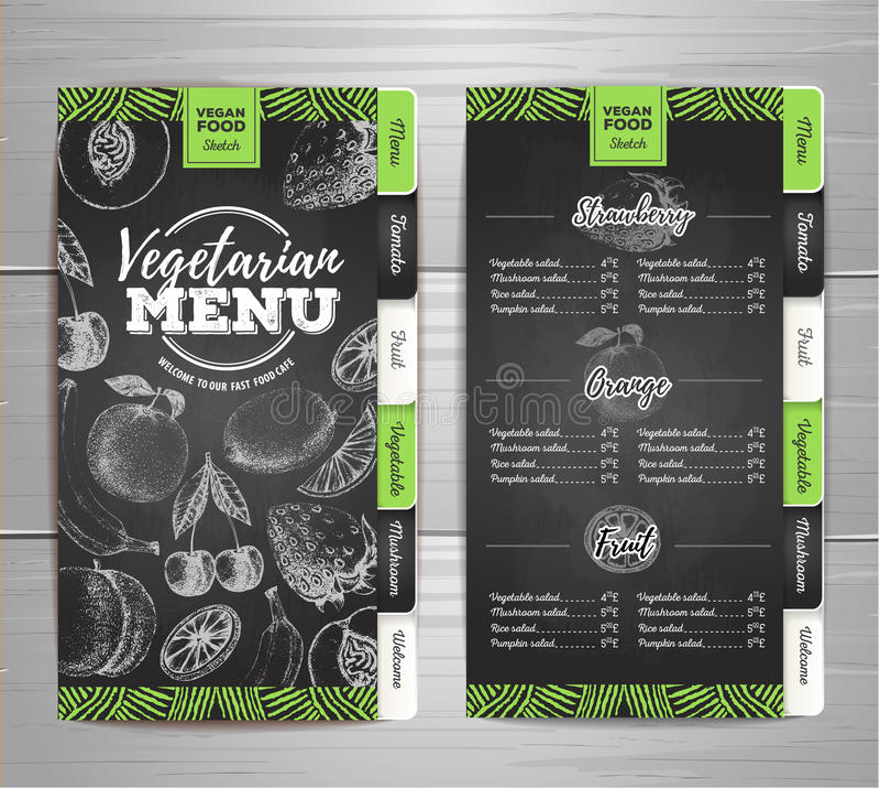 Conception végétarienne de menu de nourriture de dessin de craie de vintage illustration libre de droits