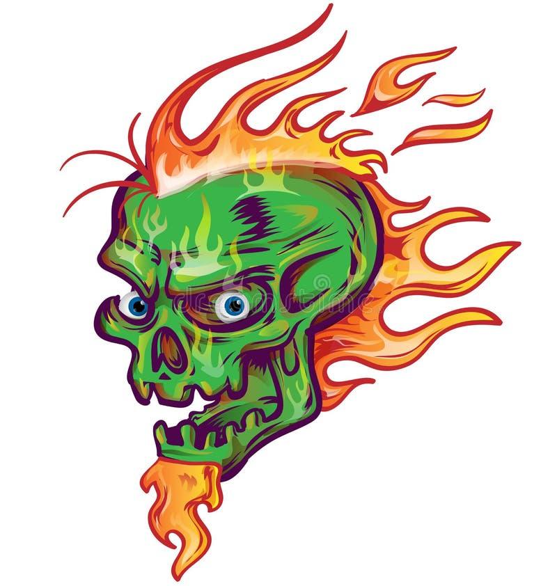 Conception verte de croquis de crâne illustration stock