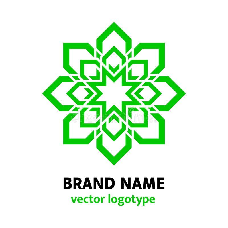 Conception verte de logo de fleur Logotype géométrique dans le style oriental Icône florale d'eco de mandala Idée originale pour  illustration de vecteur