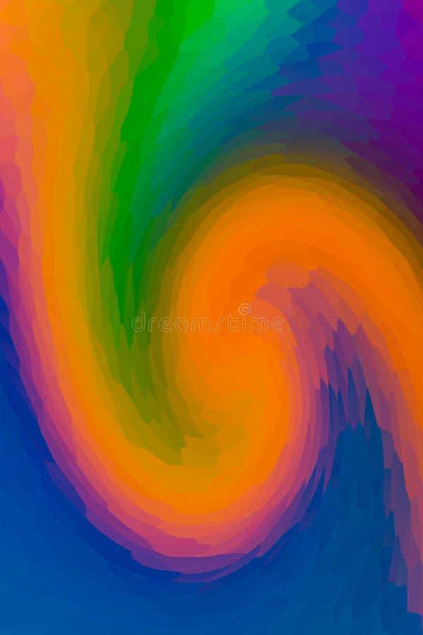 Conception verte lilas orange d'art de mosaïque de maille de peinture de mélange de vague colorée de fond photographie stock libre de droits