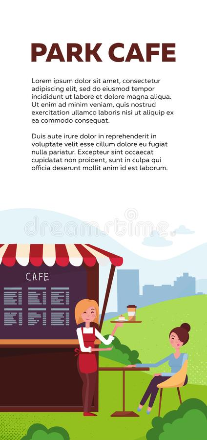 Conception verticale de brochure pour le café de parc Kiosque à emporter avec la serveuse La fille s'assied à la table en café d' illustration libre de droits