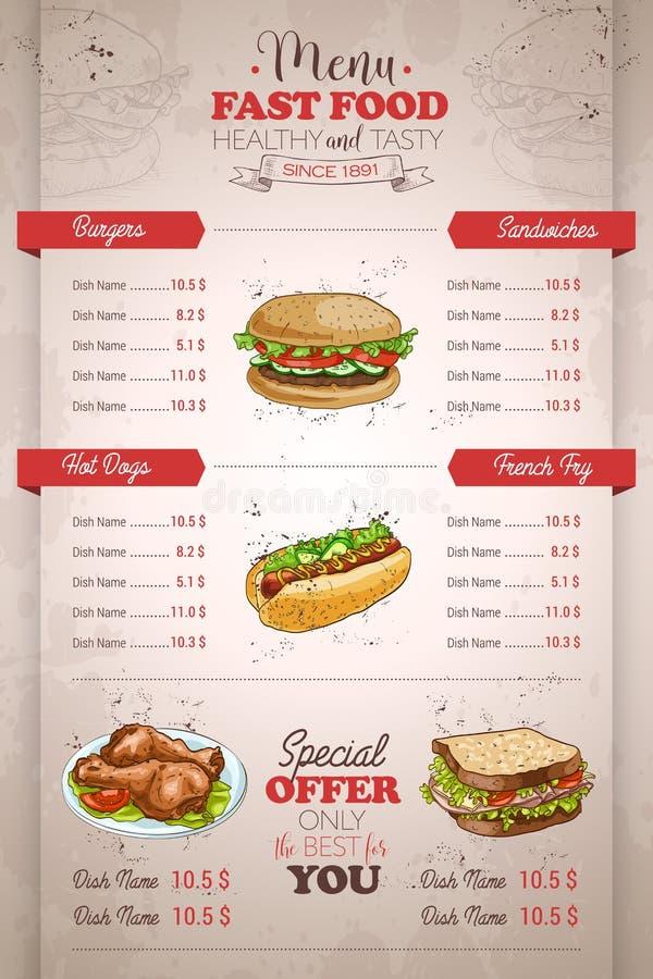 Conception verticale de dessin de menu d'aliments de préparation rapide de couleur illustration de vecteur
