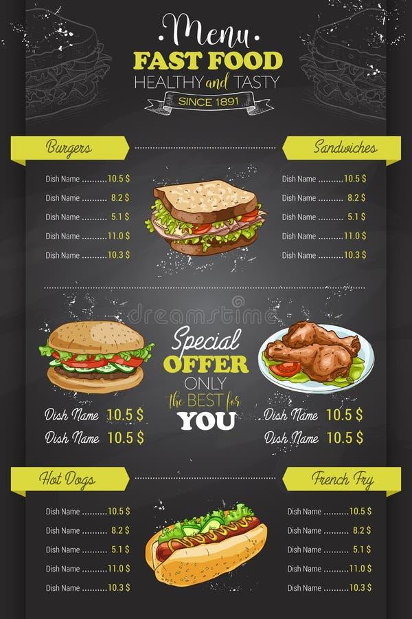 Conception verticale de dessin de menu d'aliments de préparation rapide de couleur illustration stock