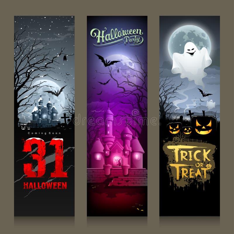 Conception verticale de Halloween de bannière heureuse de collections illustration de vecteur