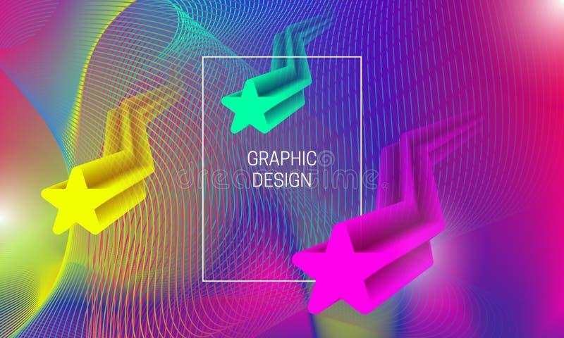 Conception vibrante abstraite de fond avec flotter des formes translucides et des éléments colorés de guilloche Calibre dynamique illustration stock