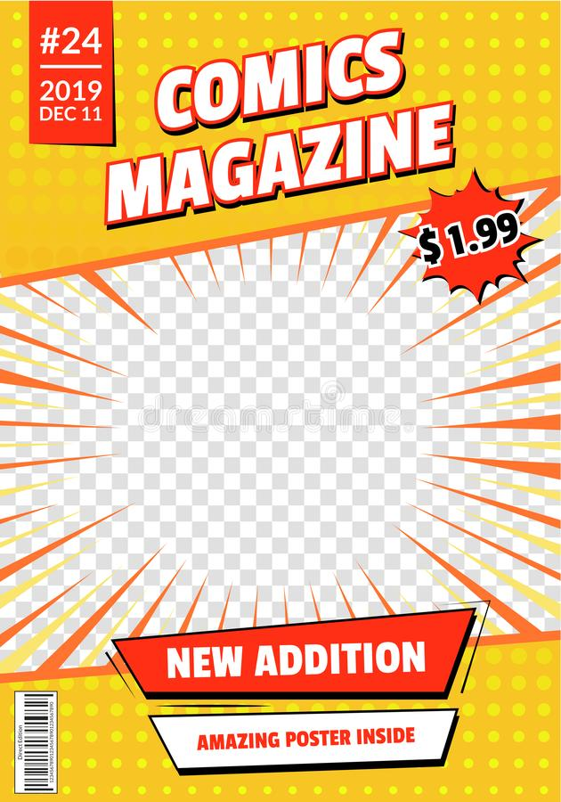 Conception vide de maquette de calibre de page de couverture de bande dessinée Vecteur illustration stock