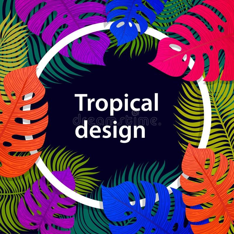 Conception vive tropicale de cadre de feuille Conception tropicale d'été avec les palmettes exotiques Monstera, paume, feuilles d illustration libre de droits