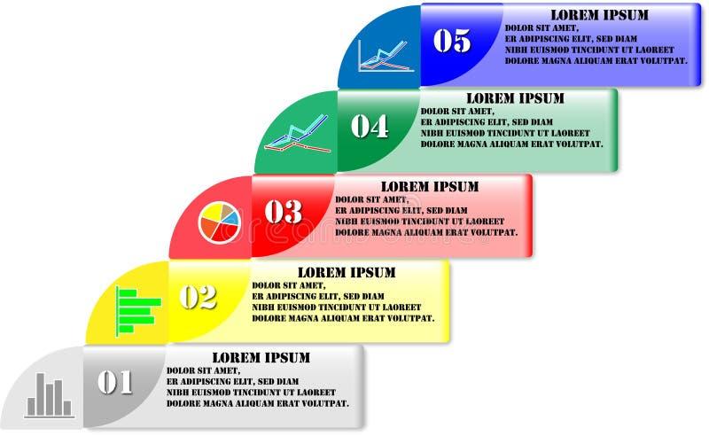 Conception web plate d'illustration de vecteur de conception de label d'affaires de chronologie d'éléments abstraits d'Infographi illustration stock