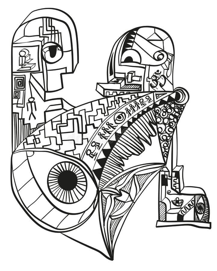 Conceptions abstraites de griffonnage Dessin surréaliste illustration de vecteur