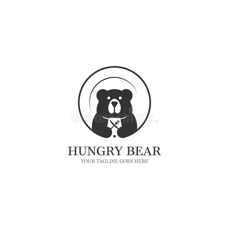 Conceptions affam?es de logo d'ours avec le plateau sur l'?quipement de fond et de nourriture sur l'espace n?gatif illustration stock