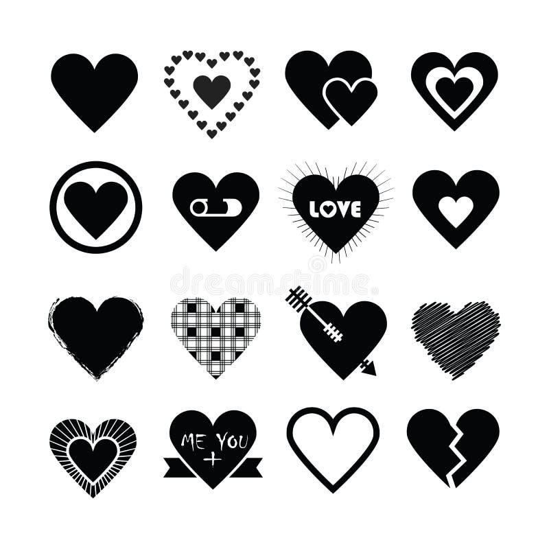 Conceptions assorties des icônes noires de coeurs de silhouette réglées illustration de vecteur